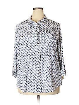 Charter Club 3/4 Sleeve Button-Down Shirt Size 3X (Plus)