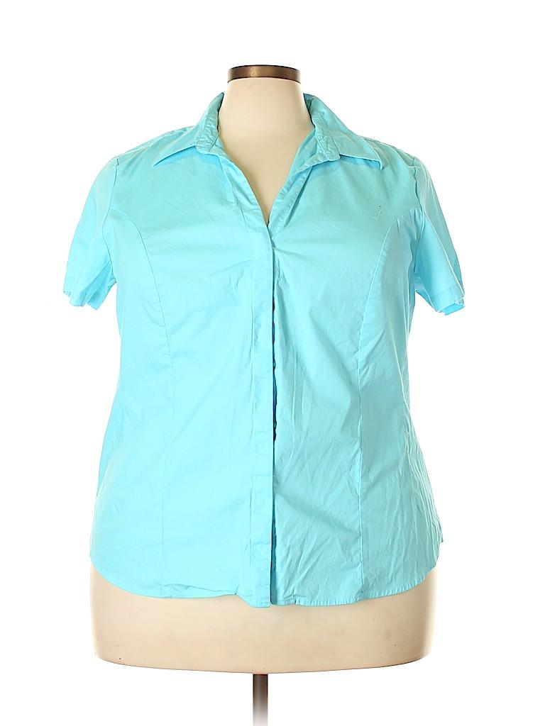 Rider Women Short Sleeve Button-Down Shirt Size 2X (Plus)