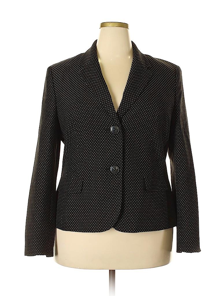 e557bbdb44 Black Label by Evan Picone 100% Polyester Polka Dots Black Blazer ...