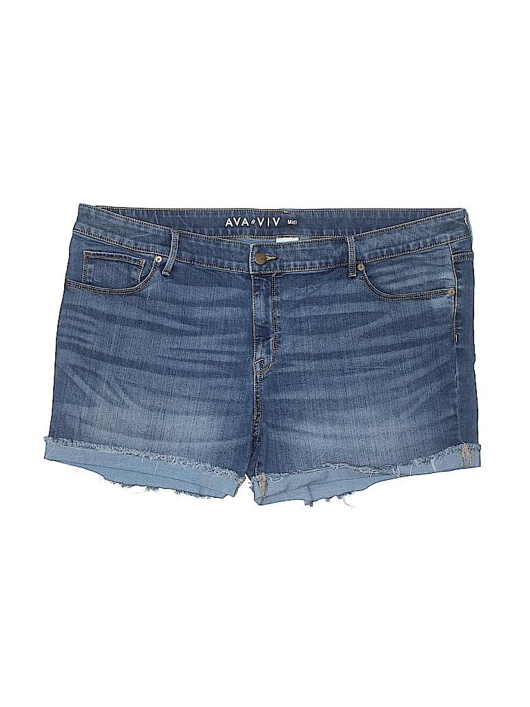 9898d8bd4d1 Ava   Viv Solid Blue Denim Shorts Size 22w (Plus) - 42% off