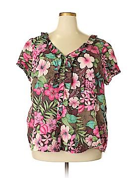Caribbean Joe Short Sleeve Blouse Size 2X (Plus)