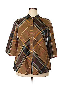 Autograph 3/4 Sleeve Button-Down Shirt Size 1X (Plus)