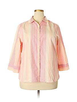 SW Studio Works 3/4 Sleeve Button-Down Shirt Size 2X (Plus)