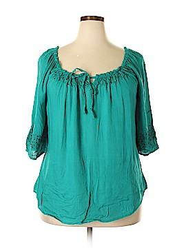One World Short Sleeve Blouse Size 1X (Plus)