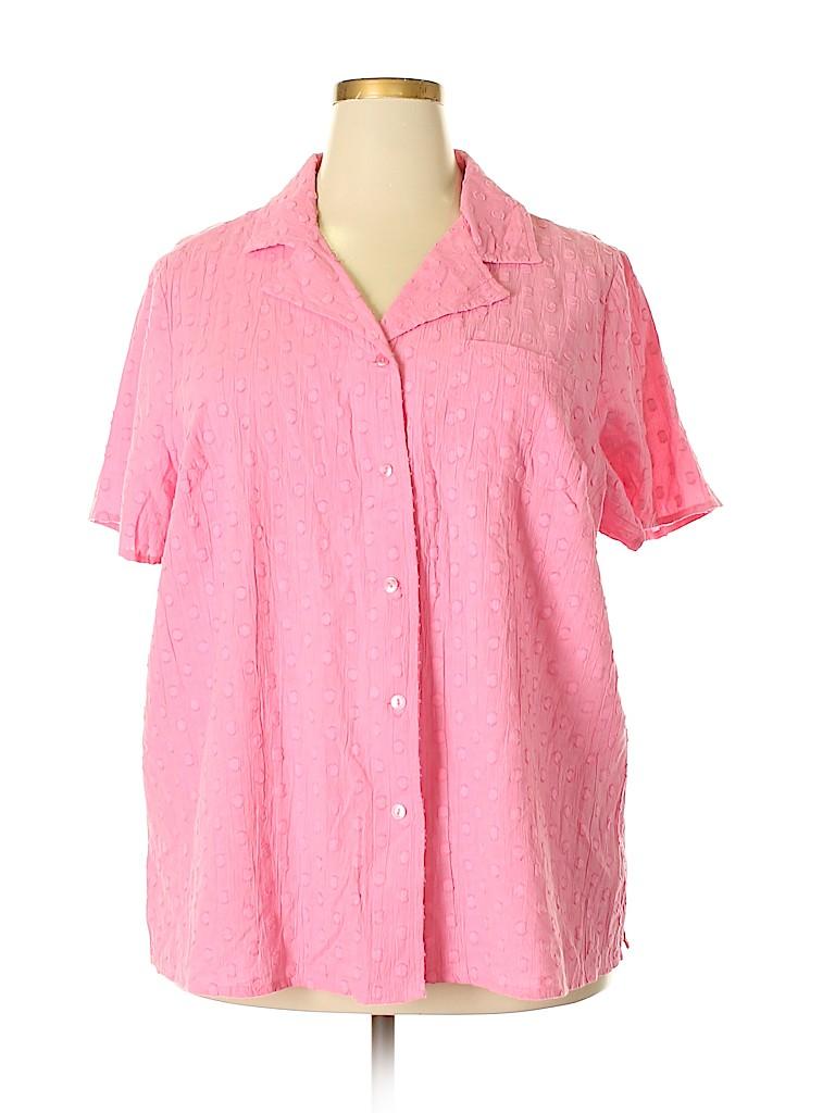 D&Co. Women Short Sleeve Button-Down Shirt Size 1X (Plus)