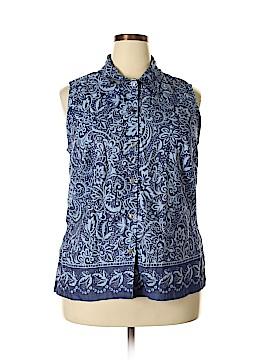 Villager Sport by Liz Claiborne Sleeveless Button-Down Shirt Size 2X (Plus)