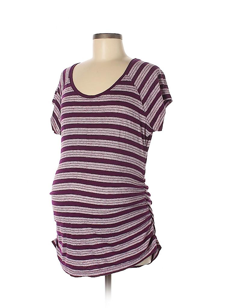 d781b71d85705 Liz Lange Maternity for Target Stripes Purple Short Sleeve T-Shirt ...