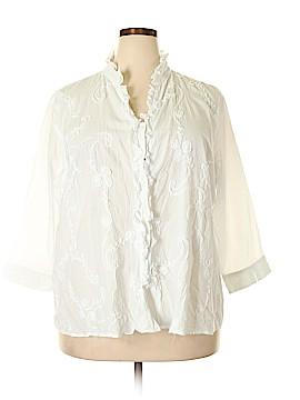 Tantrums 3/4 Sleeve Button-Down Shirt Size 3X (Plus)