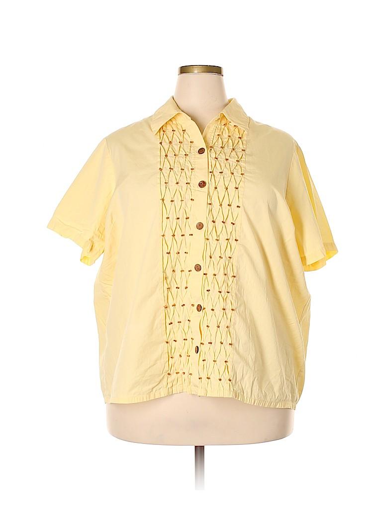 Blair Women Short Sleeve Button-Down Shirt Size 2X (Plus)