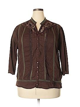 J Gee 3/4 Sleeve Button-Down Shirt Size 3X (Plus)