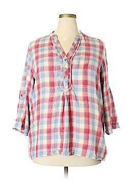 Seven7 3/4 Sleeve Button-Down Shirt Size 2X (Plus)