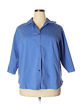 Karen Scott II 3/4 Sleeve Button-Down Shirt Size 1X (Plus)