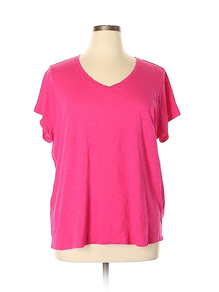 2e66c1c9 Jcpenney 100% Cotton Solid Pink Short Sleeve T-Shirt Size 3X (Plus ...