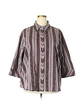 Quizz Woman 3/4 Sleeve Button-Down Shirt Size 30 (Plus)