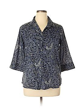 Rebecca Malone 3/4 Sleeve Button-Down Shirt Size L
