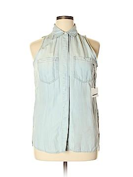 SNEAK PEEK Sleeveless Button-Down Shirt Size L