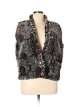 Cactus Flower Faux Fur Vest Size XL