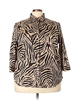 Chaps 3/4 Sleeve Button-Down Shirt Size 3X (Plus)