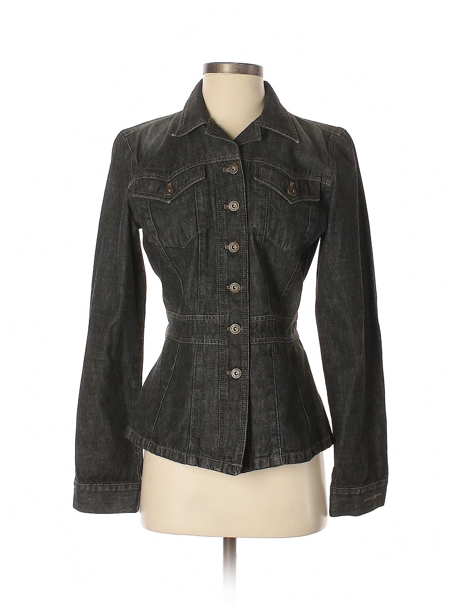 DKNY Jeans 100% Cotton Solid Black Denim Jacket Size M 68