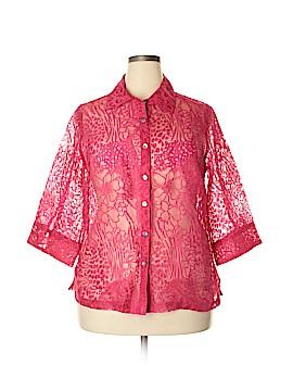 Choices 3/4 Sleeve Button-Down Shirt Size 1X (Plus)
