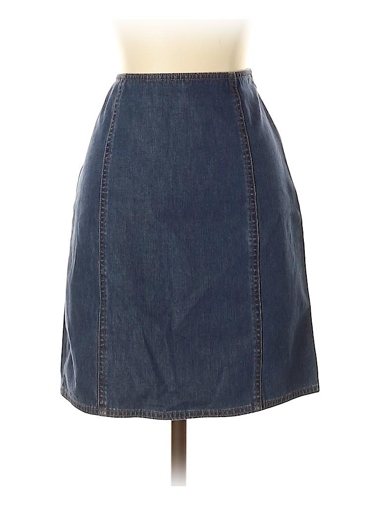 8424967847 Ann Taylor LOFT Solid Blue Denim Skirt Size 4 (Petite) - 80% off ...