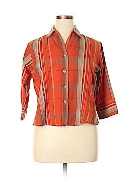 Rebecca Malone 3/4 Sleeve Button-Down Shirt Size XL