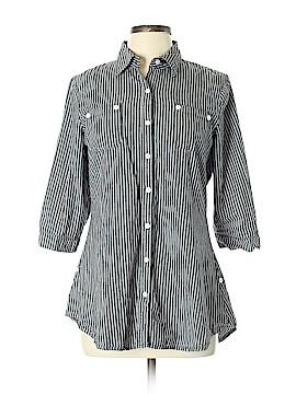 Derek Heart 3/4 Sleeve Button-Down Shirt Size L