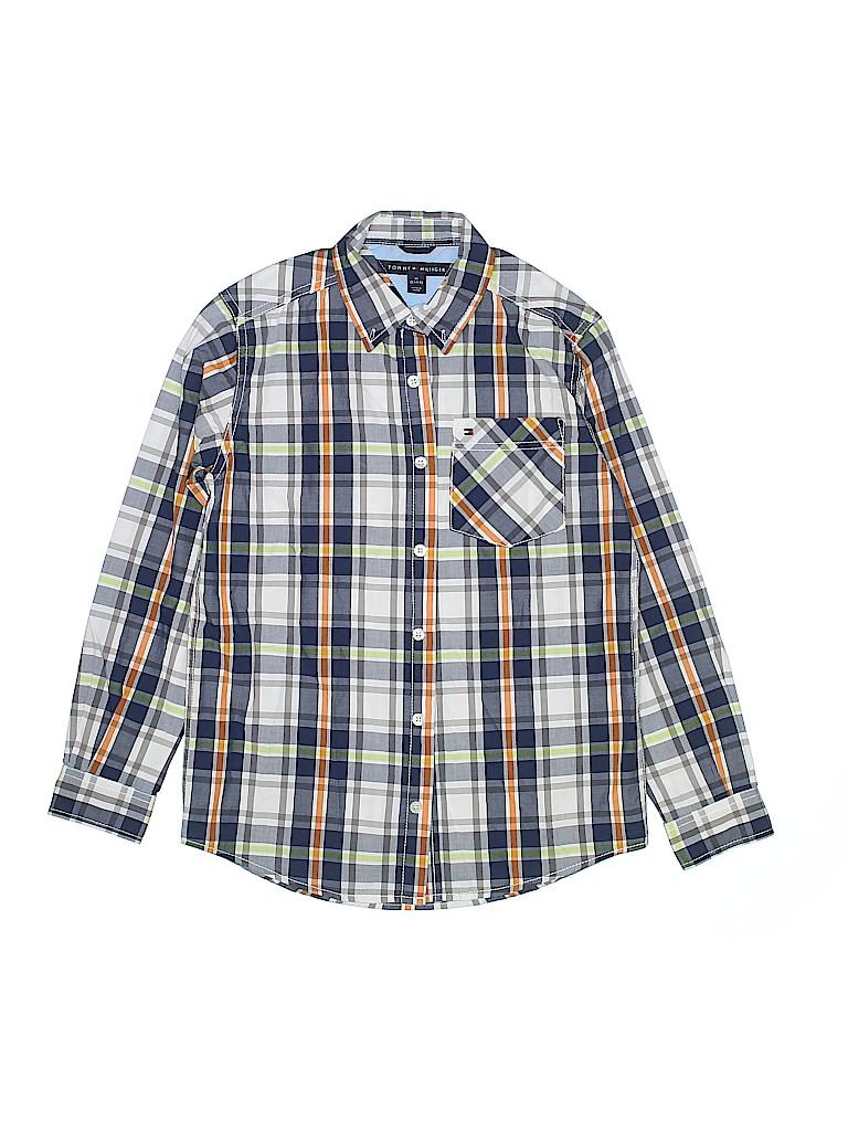 f485727e Tommy Hilfiger 100% Cotton Plaid Navy Blue Long Sleeve Button-Down ...