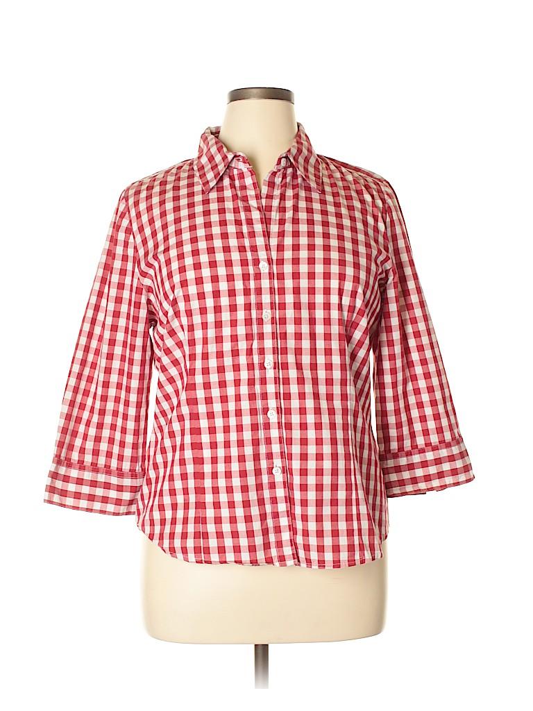 Kim Rogers Women 3/4 Sleeve Button-Down Shirt Size XL