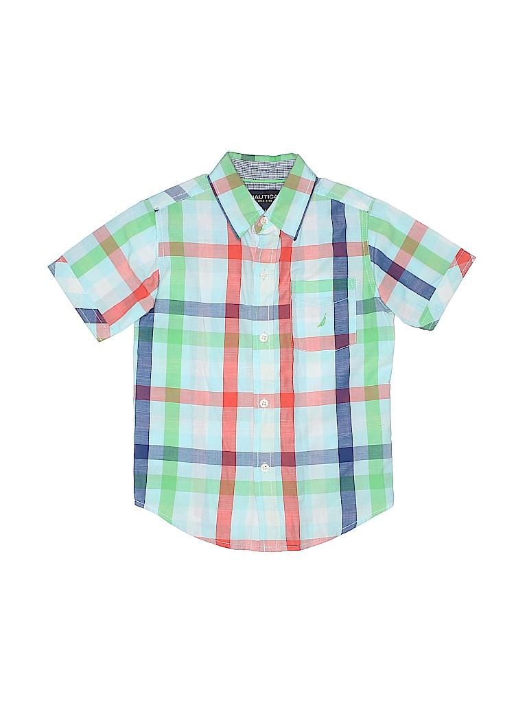 Nautica 100 Cotton Plaid Blue Short Sleeve Button Down Shirt Size L