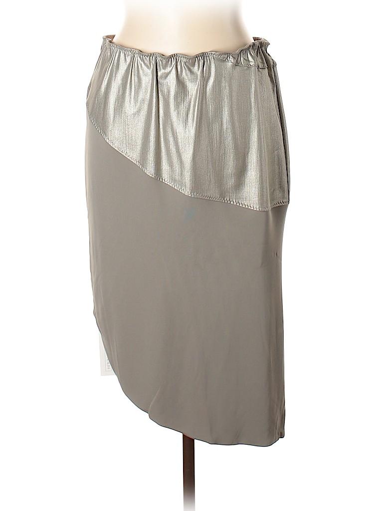 90a21fab94 Wear In Good Health 100% Viscose Metallic Gray Casual Skirt Size XL ...
