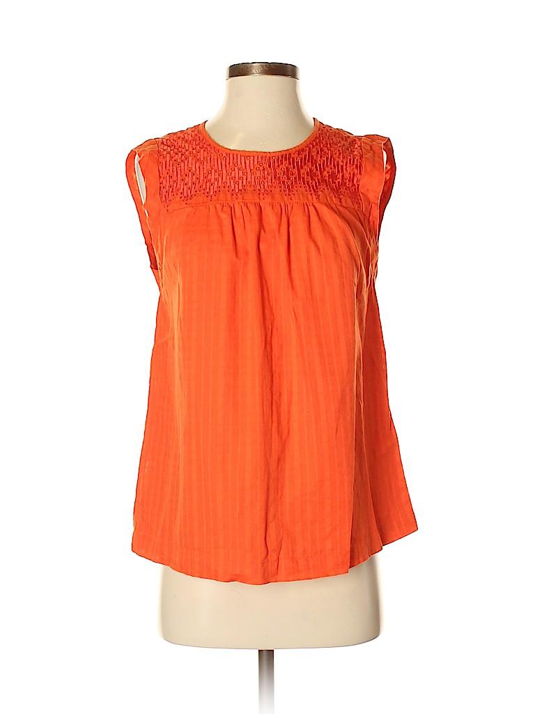 b55bcfba356529 J. Crew 100% Cotton Solid Orange Sleeveless Blouse Size 4 - 81% off ...