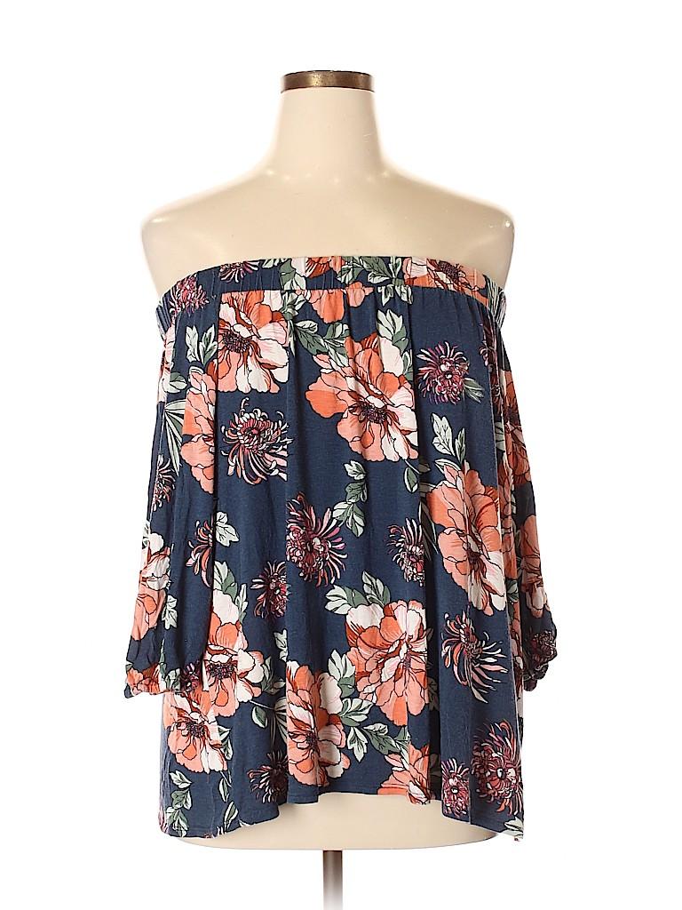 51f5b27b1913c Loveappella Floral Dark Blue 3/4 Sleeve Top Size XXL - 63% off | thredUP