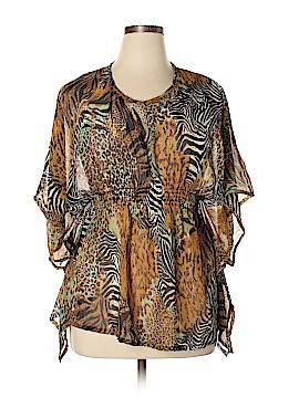 Tangerine Short Sleeve Blouse Size XL