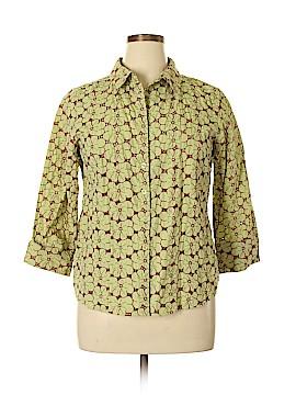 Denim & Co 3/4 Sleeve Button-Down Shirt Size L