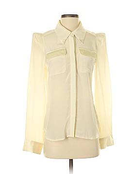 Line & Dot Long Sleeve Silk Top Size M