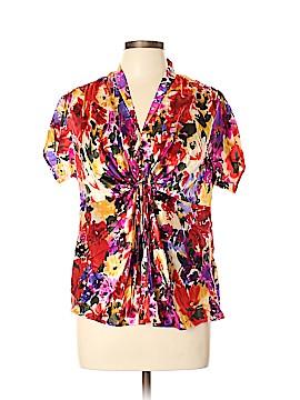 Anne Klein Short Sleeve Silk Top Size 10