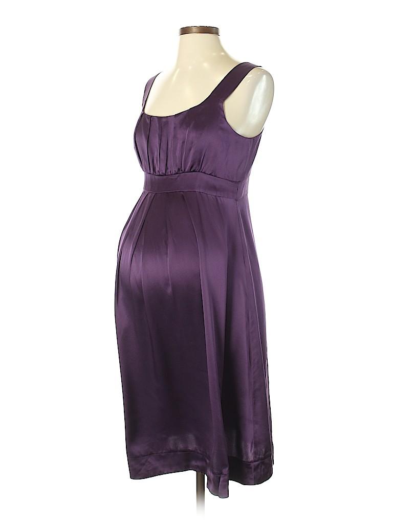 34f1b91c56fa4 Momo 100% Silk Solid Dark Purple Casual Dress Size XS (Maternity ...