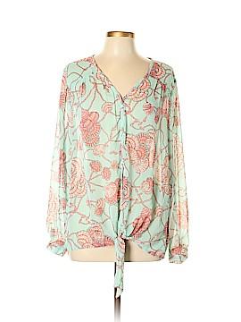 Roz & Ali Long Sleeve Button-Down Shirt Size L