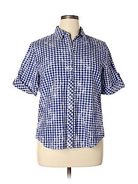 Allison Daley Short Sleeve Button-Down Shirt Size 14 (Petite)