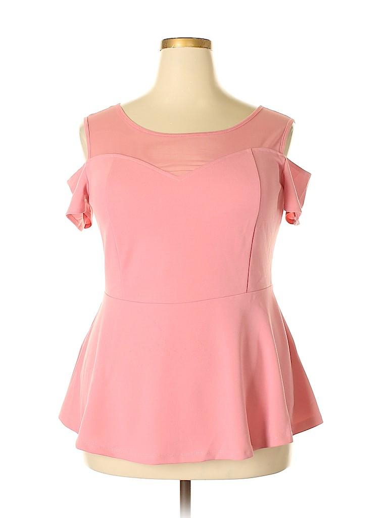 City Chic Women Short Sleeve Top Size 14 Plus (XS) (Plus)