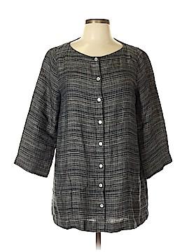 Eileen Fisher Short Sleeve Button-Down Shirt Size M (Petite)