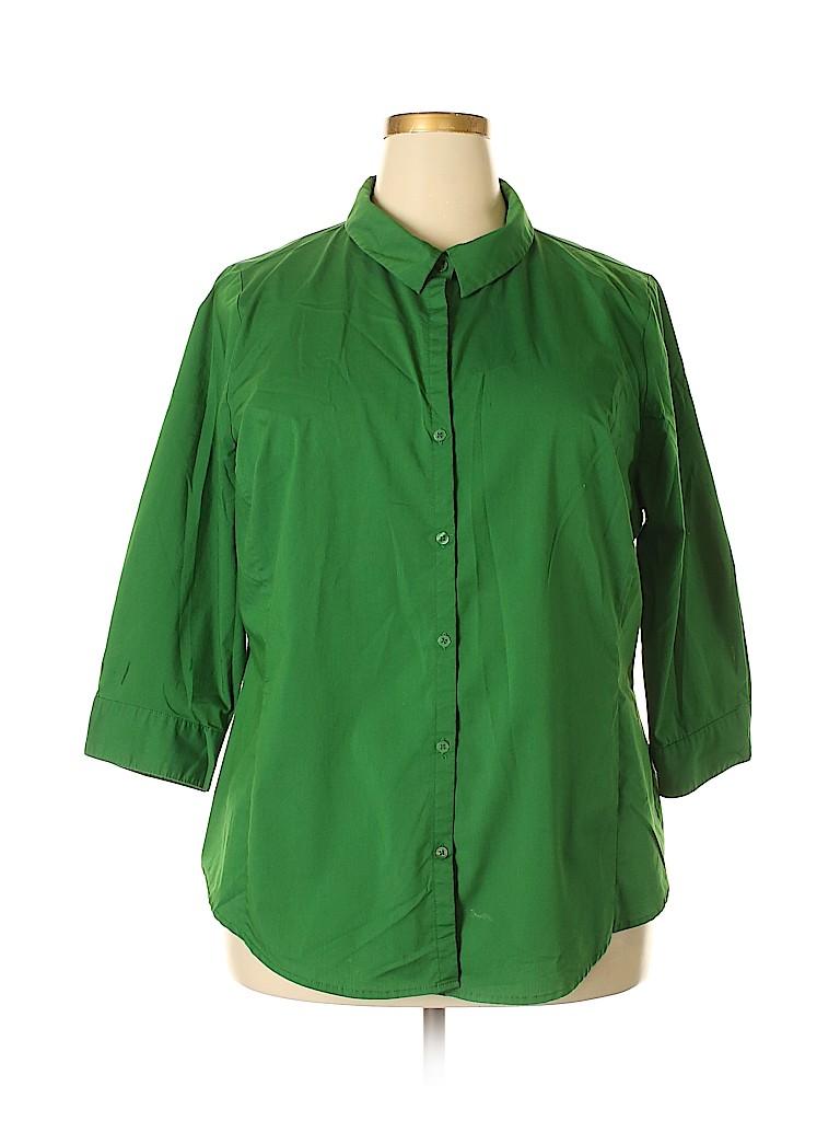 7b8b7ffde27d36 Worthington Solid Green Long Sleeve Button-Down Shirt Size 2X (Plus ...