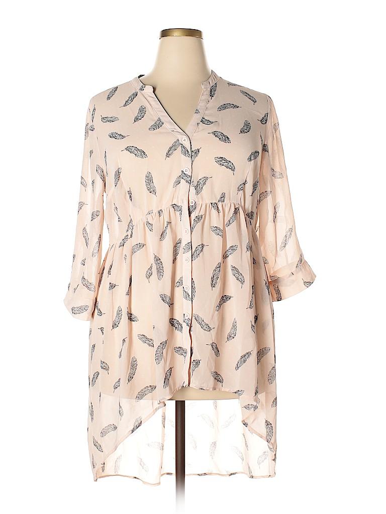 d9d356f1f4c7fa Torrid 100% Polyester Print Light Pink 3 4 Sleeve Blouse Size 1X ...