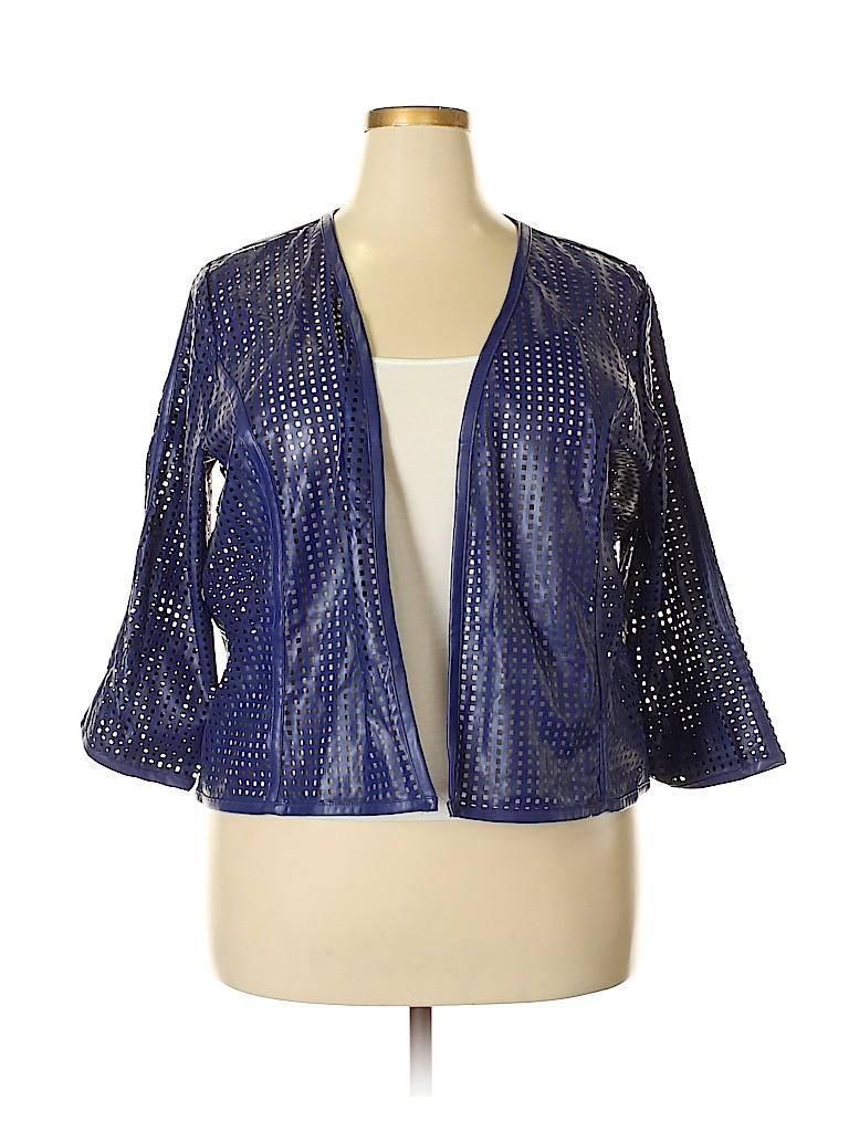 5a7ff3e49885b ELOQUII 100% Polyurethane Solid Dark Blue Jacket Size 20 (Plus) - 62 ...