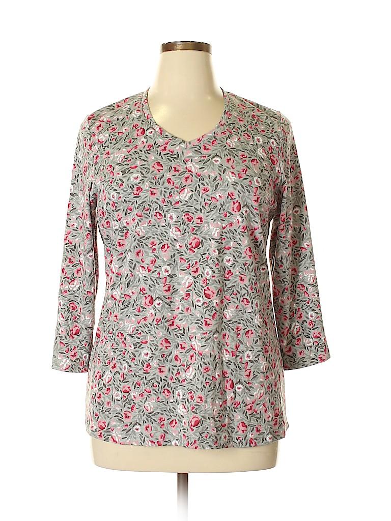 Karen Scott Women 3/4 Sleeve Top Size 0X (Plus)
