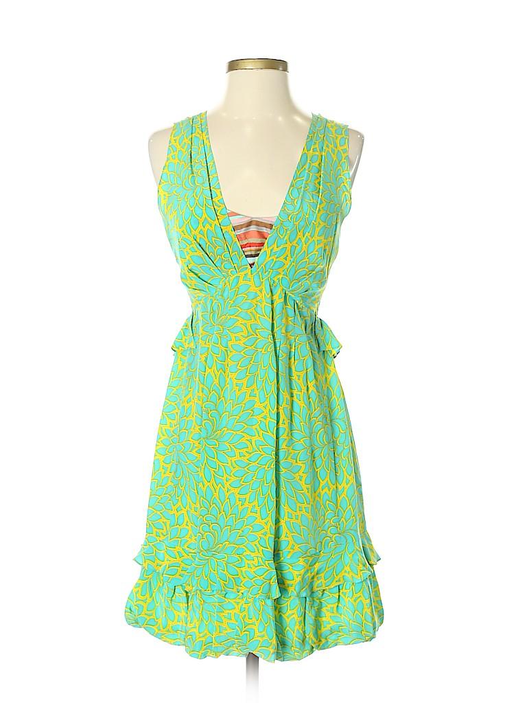 5a1b538177f5 Nanette Lepore 100% Silk Print Green Casual Dress Size 0 - 85% off ...