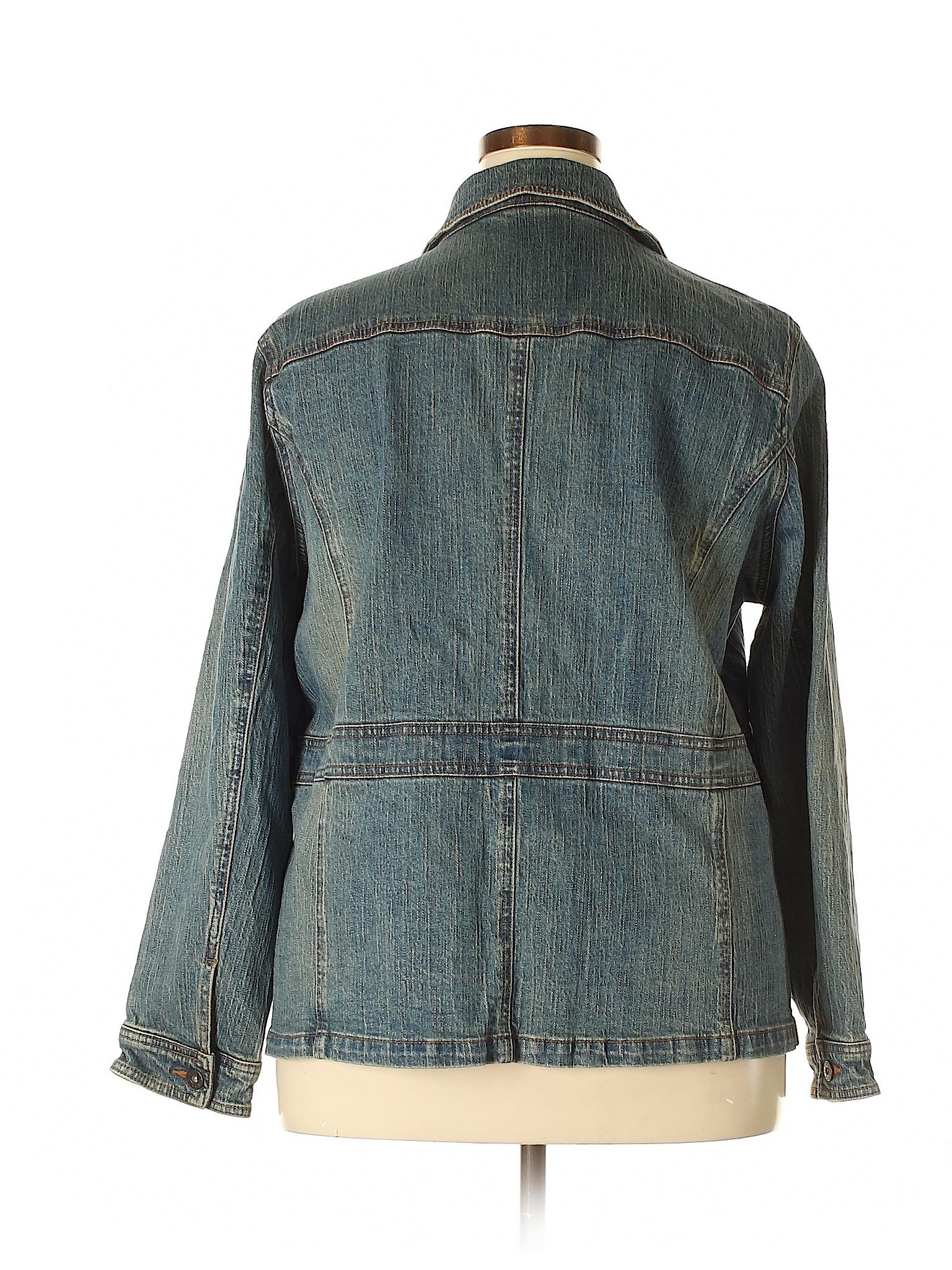 2b4de56534b75 Cato 100% Cotton Solid Navy Blue Denim Jacket Size 22 24 (Plus) - 56% off