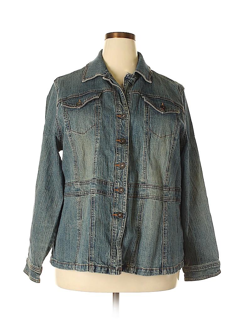 0b9b72d6189ed Cato 100% Cotton Solid Navy Blue Denim Jacket Size 22 24 (Plus) - 56 ...