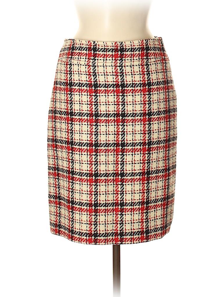c6840bdcbdea Bergdorf Goodman 100% Wool Print Tan Wool Skirt Size 6 - 86% off ...